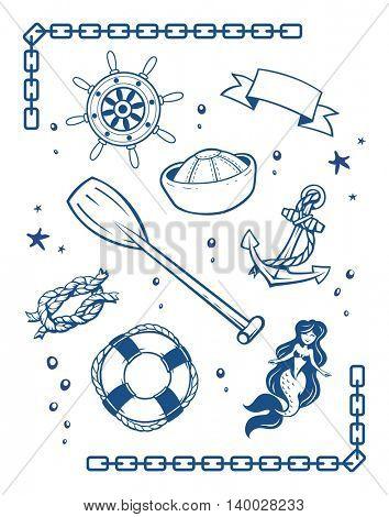 Sea and nautical symbols set of vector illustration vingage style tattoo marine mermaid ship anchor life buoy sailor cap rope knot boat wheel