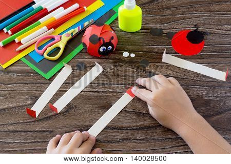 The Child Holds A Strip Of Paper And Fold It In Half Ends. The Child Makes Crafts Out Of Paper Ladyb
