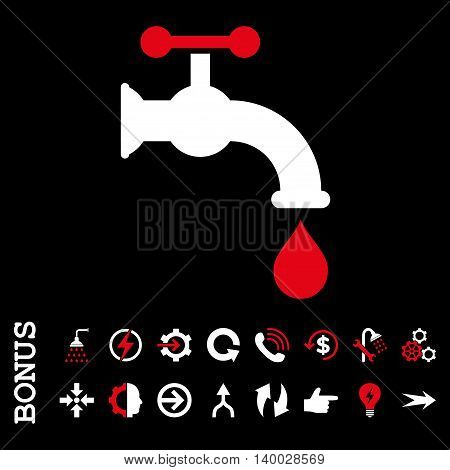Water Tap vector bicolor icon. Image style is a flat pictogram symbol, red and white colors, black background.