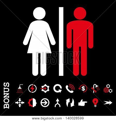 WC Persons vector bicolor icon. Image style is a flat iconic symbol, red and white colors, black background.