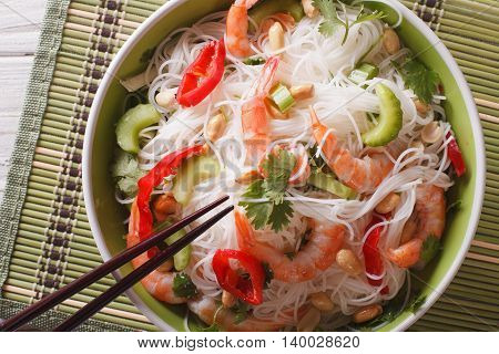 Thai Salad With Glass Noodles, Prawns And Vegetables Macro. Horizontal Top View