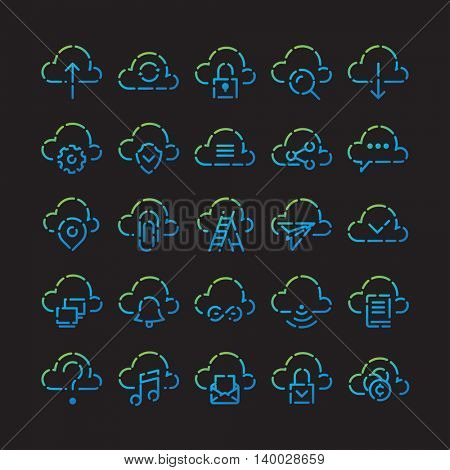 Color Line Icon set for web and mobile. Modern minimalistic flat design elements of cloud computing and wireless technology