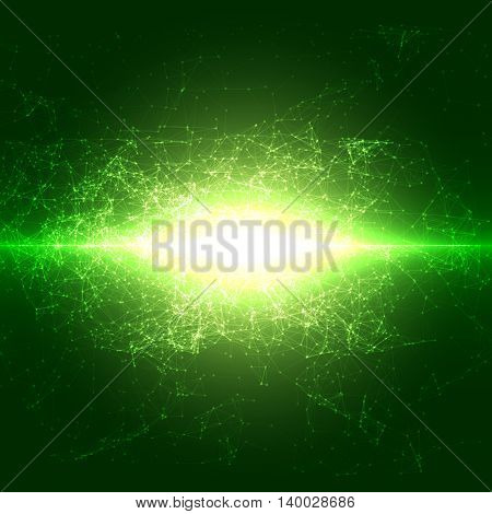 Abstract Flashed Polygonal Space Background with Connecting Dots and Lines | EPS10 Vector Illustration