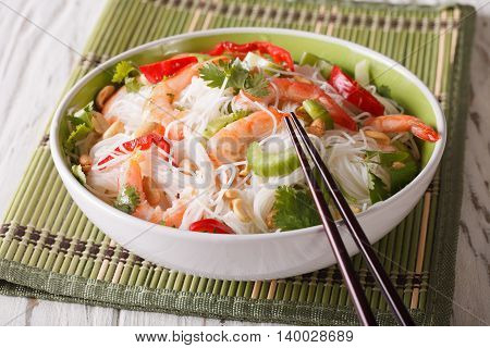 Spicy Thai Salad Yam Woon Sen With Seafood Close Up. Horizontal