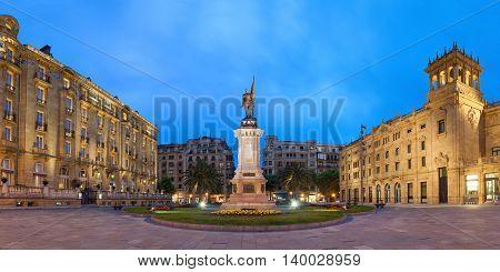 Oquendo square with monument to Antonio de Oquendo in the evening San Sebastian Basque Country Spain
