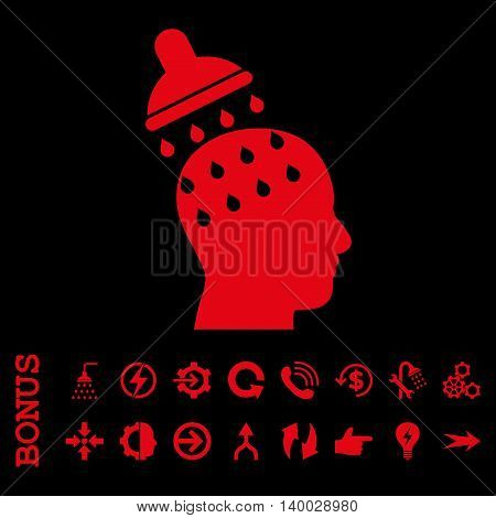 Brain Washing vector icon. Image style is a flat pictogram symbol, red color, black background.