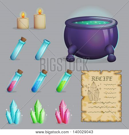 Collection of items to brew a magic potion. Witch accessories for making health, manna and other elixirs, cauldron, magic ingredients, ancient recipe, containers and candles. Game and app ui icons