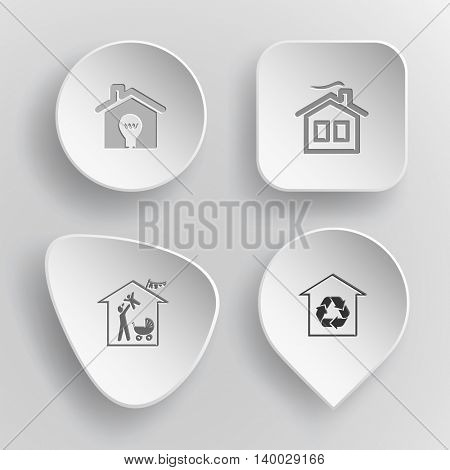 4 images: light in home, family, protection of nature. Home set. White concave buttons on gray background. Vector icons.