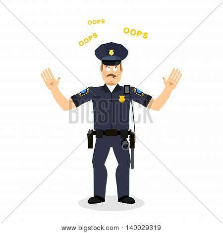 Surprised Policeman Loquitur Oops. Perplexed Cop. Police Officer In Full Ammunition