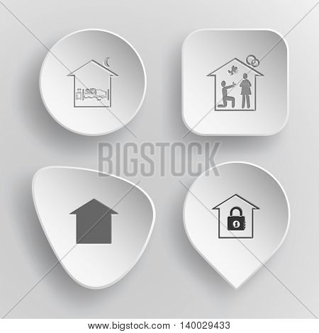 4 images: home bedroom, affiance, bank. Home set. White concave buttons on gray background. Vector icons.