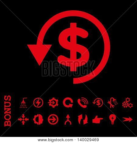Chargeback vector icon. Image style is a flat pictogram symbol, red color, black background.