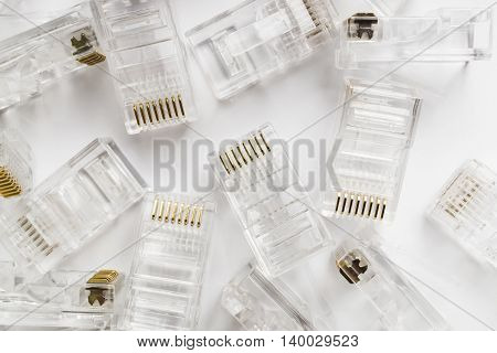 Transparent ethernet internet rj-45 connectors background on white