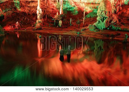 Colored Punkva Cave in the Moravsky Kras. Moravian Karst. Czech republic
