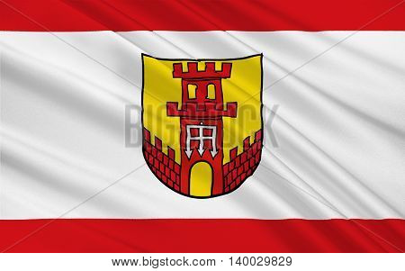 Flag of Warendorf is a town in North Rhine-Westphalia Germany. 3d illustration