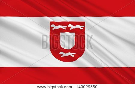 Flag of Wesel is a city in North Rhine-Westphalia Germany. 3d illustration