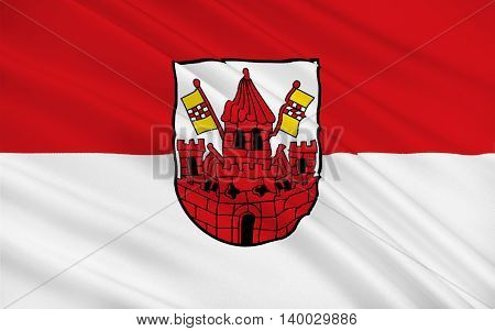 Flag of Unna is a city in North Rhine-Westphalia Germany. 3d illustration