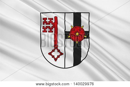 Flag of Soest is a district in the middle of North Rhine-Westphalia Germany. 3d illustration