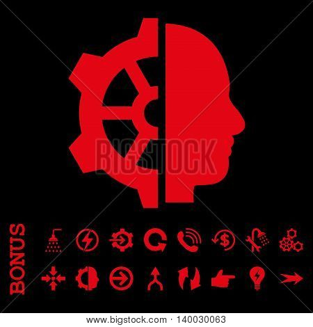 Cyborg Gear vector icon. Image style is a flat pictogram symbol, red color, black background.