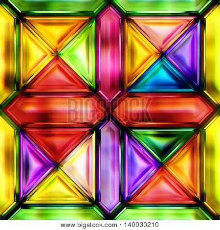 Seamless texture of abstract bright shiny colorful geometric shapes 3D illustration