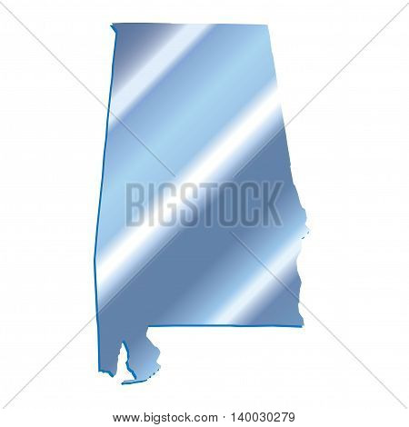 3D Alabama (USA) Iridium outline map with shadow