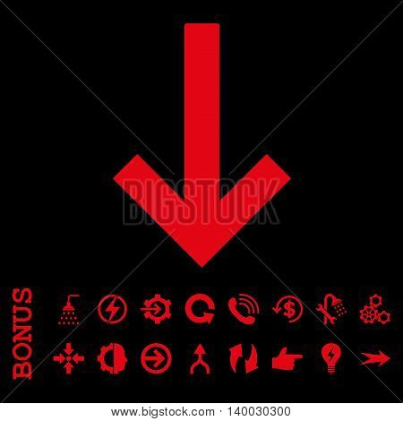 Down Arrow vector icon. Image style is a flat iconic symbol, red color, black background.