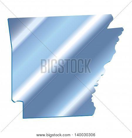 3D Arkansas (USA) Iridium Blue outline map with shadow