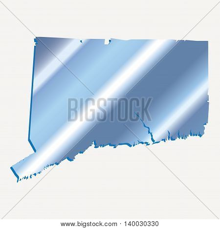 3D Connecticut (USA) Iridium Blue outline map with shadow