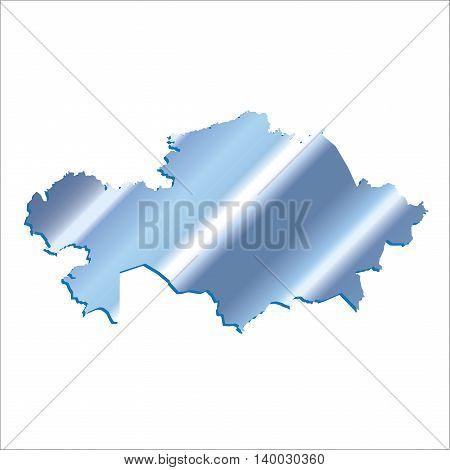 3D Vector Kazakhstan Iridium Blue With Shadow