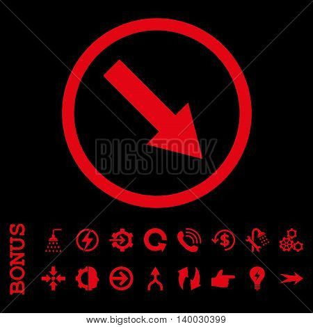 Down-Right Rounded Arrow vector icon. Image style is a flat iconic symbol, red color, black background.