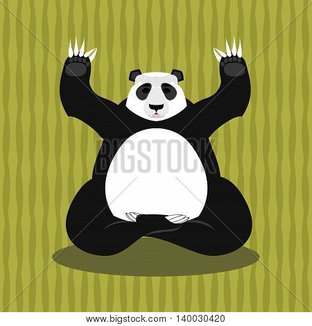 Panda Meditating. Chinese Bear On Background Of Bamboo. Status Of Nirvana And Enlightenment. Lotus P