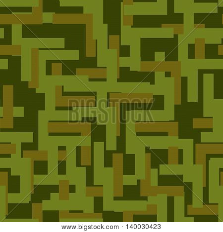 Military Seamless Pattern. Army Abstract Texture. Camouflage Ornament For Soldiers. Green Soldiery B