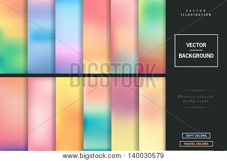 Abstract colorful blurred vector backgrounds. Elements for your website or presentation. Set with many beautiful colors gold, blue, red, yellow, pink, green, violet and many other colors and tones.