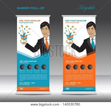 Orange and blue Roll up banner template and Business Man Mobile infographics stand display advertisement vector