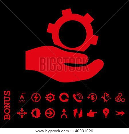 Engineering Service vector icon. Image style is a flat iconic symbol, red color, black background.