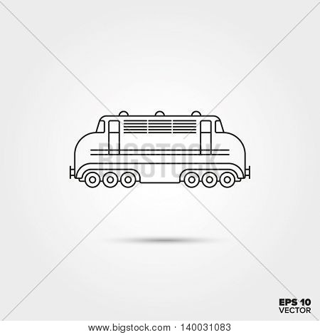 Railway locomotive Line Icon Vector