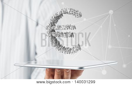 Hand of businessman showing tablet pc with euro currency sign