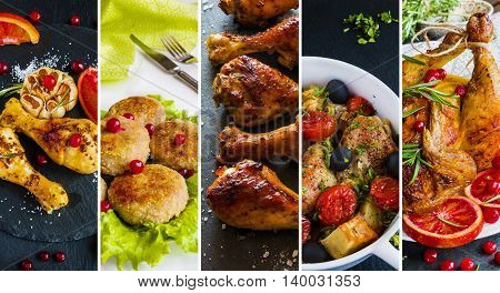 Collage from photos of different dishes with chicken. Whole chicken chicken legs and cutlets.