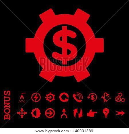 Financial Settings vector icon. Image style is a flat iconic symbol, red color, black background.