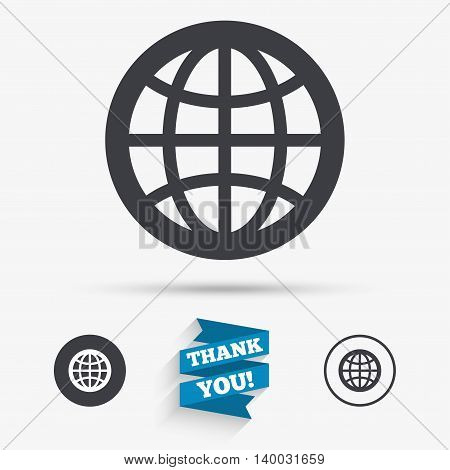 Globe sign icon. World symbol. Flat icons. Buttons with icons. Thank you ribbon. Vector