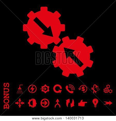 Gear Integration vector icon. Image style is a flat iconic symbol, red color, black background.