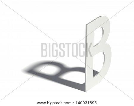 Drop Shadow Font. Letter B. 3D