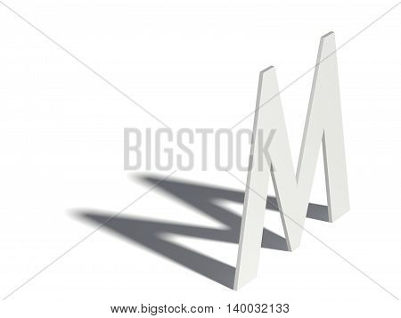 Drop Shadow Font. Letter M. 3D