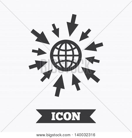 Go to Web icon. Globe with mouse cursor sign. Internet access symbol. Graphic design element. Flat go to web symbol on white background. Vector