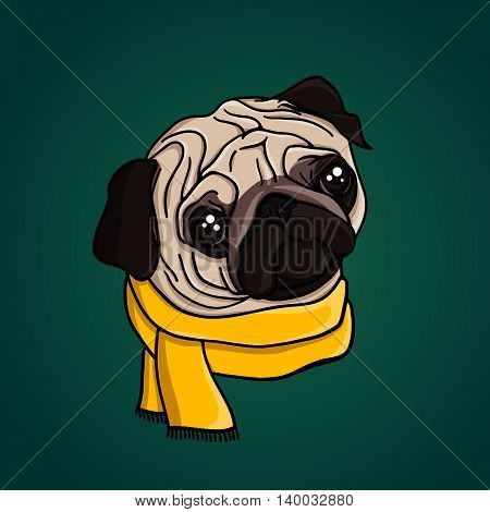 Portrait of a cute pug puppy in a yellow scarf. Animal.