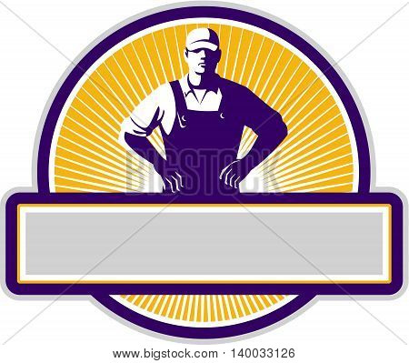 Illustration of an organic farmer wearing hat and overalls with hands on hips akimbo facing front set inside circle with sunburst in the background done in retro style.