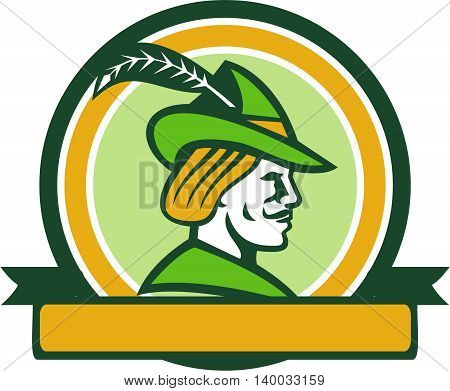 Illustration of a Robin Hood wearing medieval hat with a pointed brim and feather viewed from side set inside circle with ribbon on isolated background done in retro style.