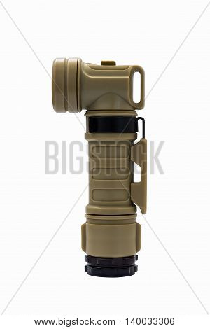 Modern molle light angle-head tactical flashlight isolated on white with cliping path