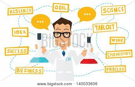 Scientist with lab flask and elements of infographics. Vector illustration.