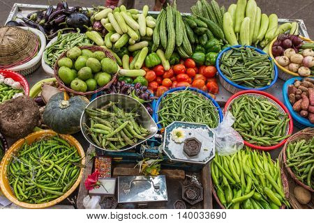 Various of vegetables at the street market in Mumbai, India