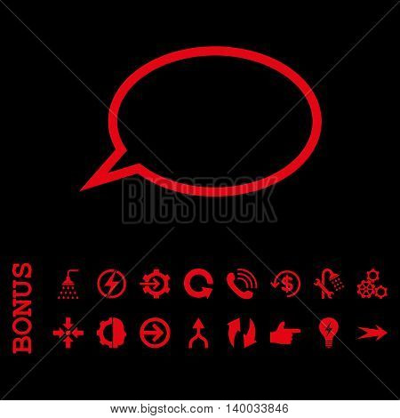 Hint Cloud vector icon. Image style is a flat pictogram symbol, red color, black background.